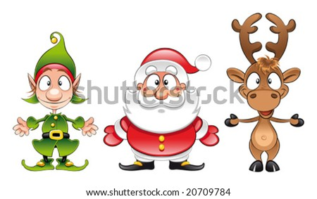 Santa claus, Elf, Rudolph - stock vector