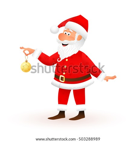 Santa Claus flat character isolated on white background. Standing funny old man is holding yellow Christmas ball with snowflake and smiling. Christmas and New Year cartoon vector illustration.