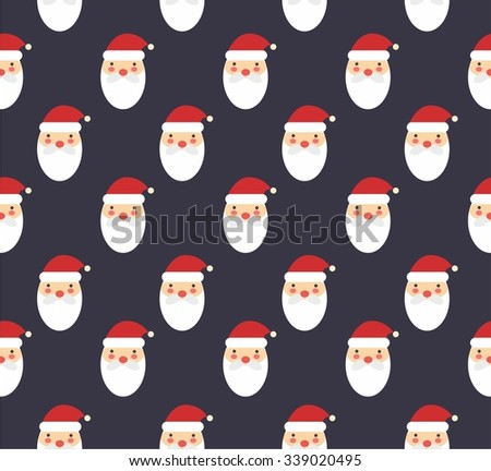 Santa Claus flat icon, seamless pattern background - stock vector