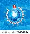 Santa Claus flight. Vector illustration of Santa Klaus flies round  Northern America - stock vector