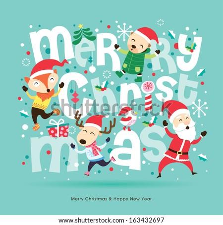 santa claus friends christmas card stock vector 2018 163432697 shutterstock - Santa Claus Christmas Cards