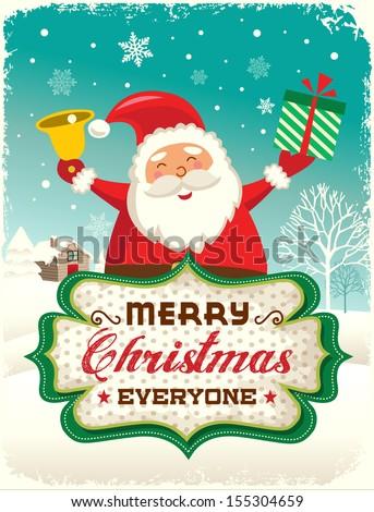 Santa Claus greeting card design - stock vector