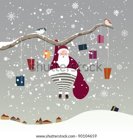 Santa Claus hanging on tree branch. Vector illustration - stock vector