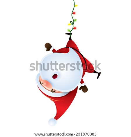 Santa Claus hanging upside down - stock vector