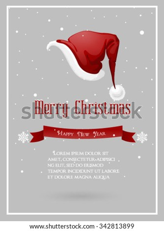Santa Claus hat,Christmas background - stock vector
