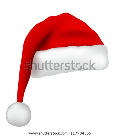 Santa Claus hat isolated on white background - stock vector