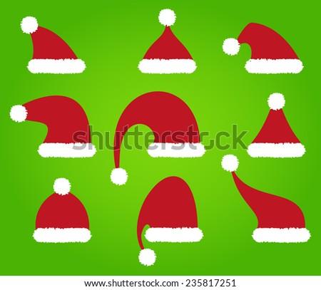 Santa Claus Hats on green background - vector con  - stock vector