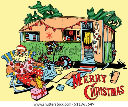 Santa Claus have a rest.Caravan Christmas. Happy New Year card design. Holiday Theme.