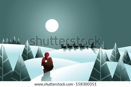 Santa Claus heads for the sleigh with his bag of gifts. EPS 10 vector, grouped for easy editing. No open shapes or paths. - stock vector