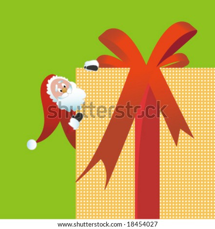 Santa Claus hide behind gift box - stock vector