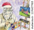 Santa Claus himself made gifts - Painting Christmas card on canvas. Description: Editable in seven layers. Number of colors in each layer: no more than sixteen. - stock photo