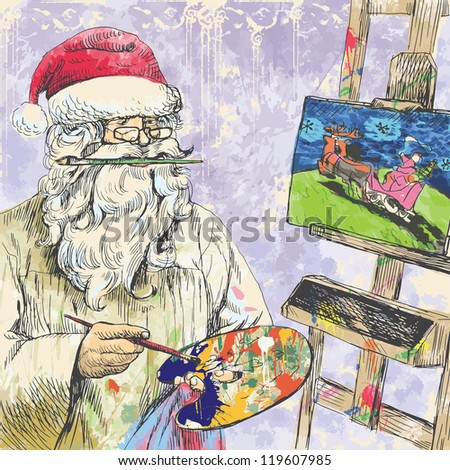 Santa Claus himself made gifts - Painting Christmas card on canvas. Description: Editable in seven layers. Number of colors in each layer: no more than sixteen. - stock vector