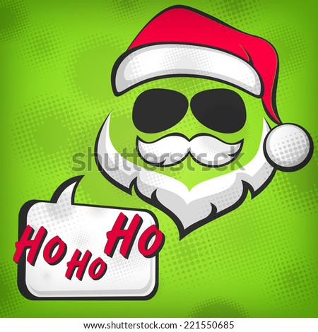 Santa Claus hipster style face on green, vector illustration - stock vector