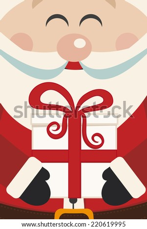 santa claus hold christmas gift - stock vector
