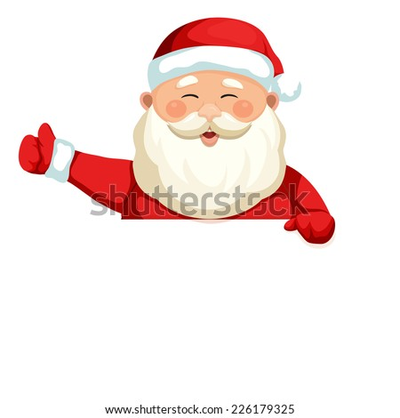 Santa Claus holding a blank sign. Vector Christmas illustration.