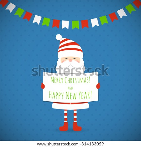Santa Claus holding a congratulatory poster. Vector illustration. - stock vector