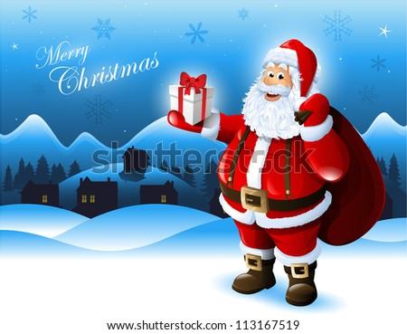 Santa Claus holding a gift box greeting card design - stock vector
