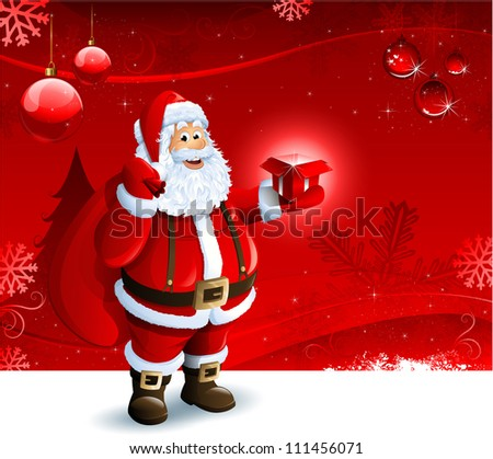 Santa Claus holding a gift box on red Christmas ornament background - stock vector