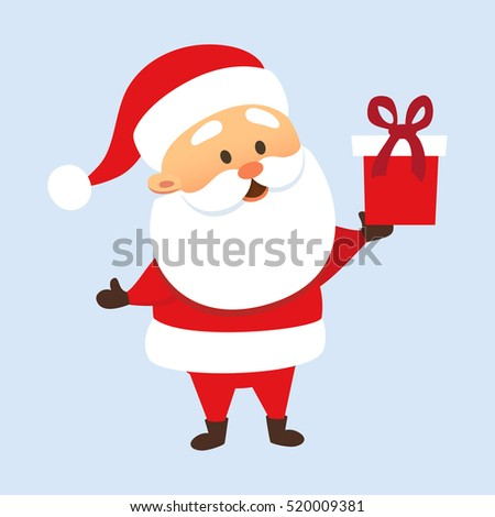 Santa Claus holding a gift box or giving present. Christmas tradition. Cute Father Frost