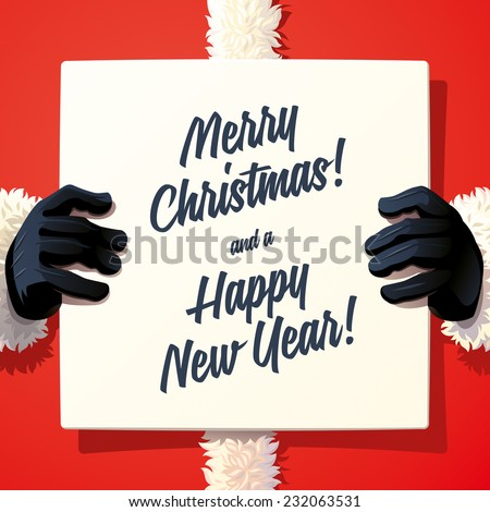 Santa Claus holding a sing - stock vector