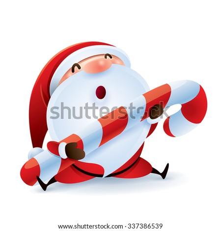 Santa Claus holding Christmas candy. - stock vector