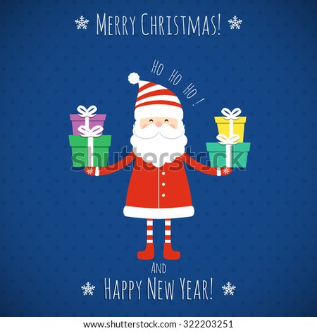 Santa Claus holding gifts. Vector illustration.