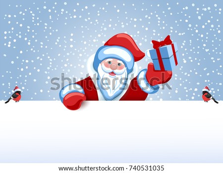 Santa Claus holds poster in the form of a snowdrift for advertise discounts, sales or an invitation to celebrate Christmas. Design of the New Year presentation.
