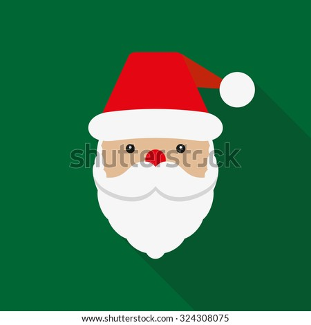 Santa Claus icon. Santa Claus face in flat design.  Christmas card template. Colorful vector illustration. - stock vector