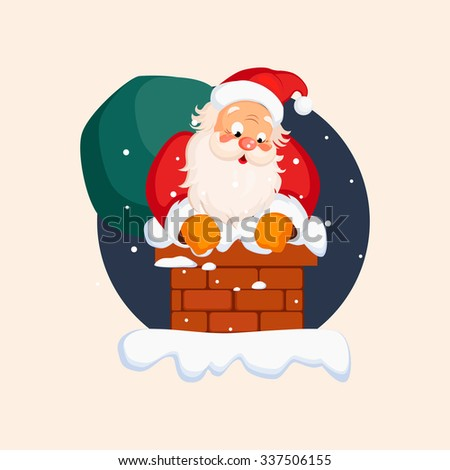 Santa Claus in Chimney on Christmas Eve. Winter Vector Illustration