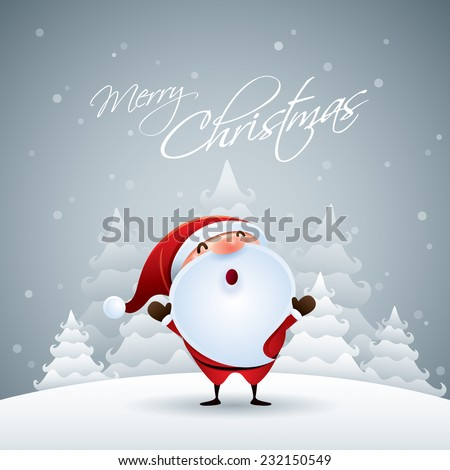 Santa Claus in Christmas snow scene. - stock vector