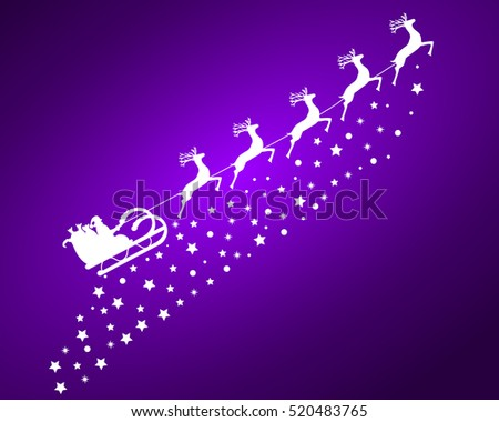 Santa Claus in sled rides in the sled reindeer on a purple backg