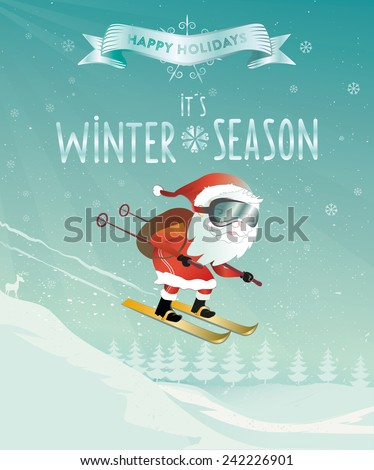 santa claus in winter holidays - stock vector