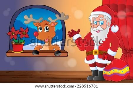 Santa Claus indoor scene 9 - eps10 vector illustration. - stock vector