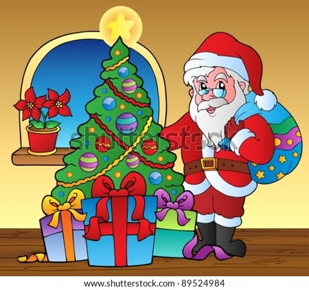 Santa Claus indoor scene 5 - vector illustration. - stock vector
