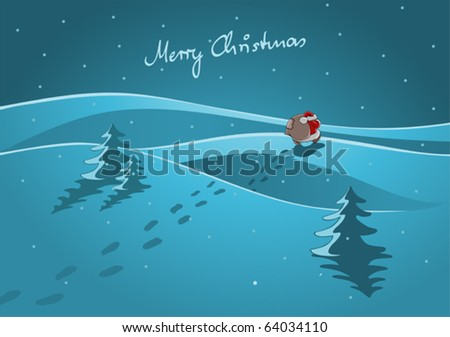 Santa Claus is coming, illustration - stock vector