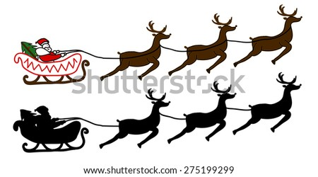 Santa Claus is flying in a sleigh, Christmas background - stock vector