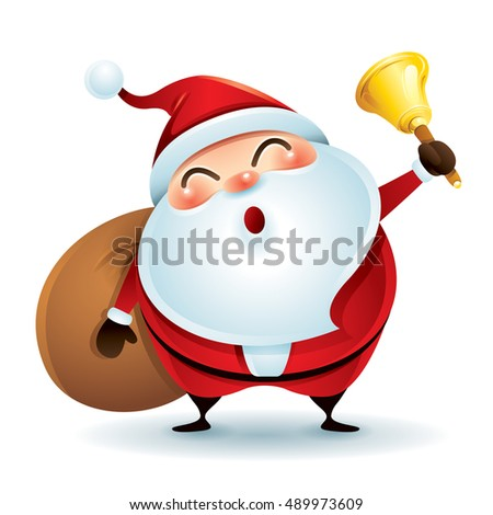 Santa Claus is holding a bell and a sack of gifts