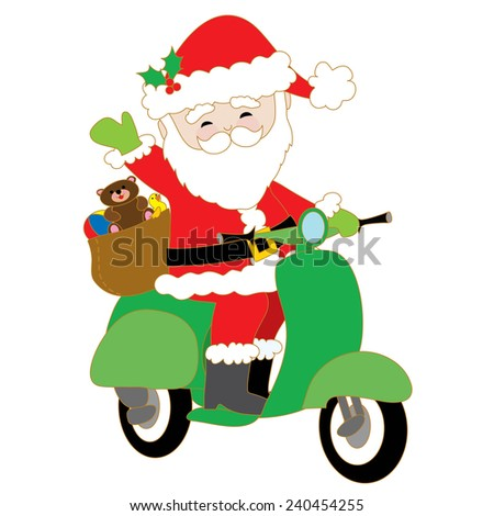 Santa Claus is riding a green scooter with a bag of toys on the back - stock vector