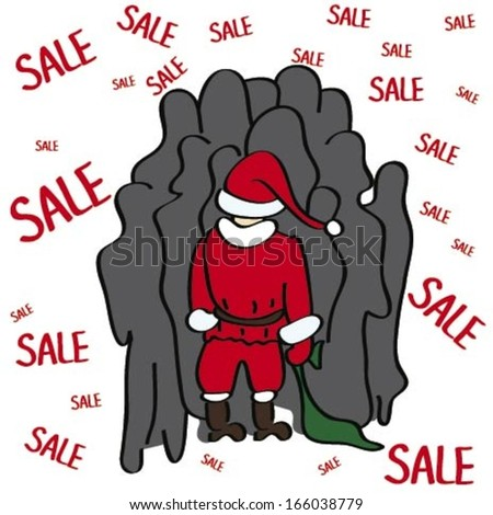 Santa Claus is standing in queue for gifts - stock vector