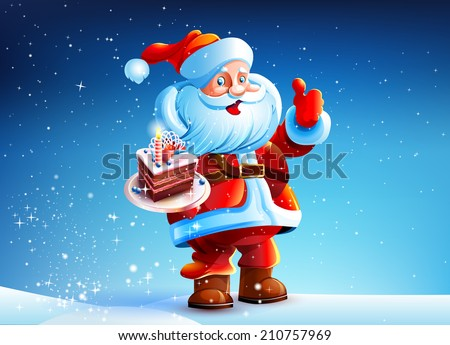Santa Claus is standing in the snow snow New Year's Eve. Santa Claus smiling. Santa Claus holding a plate of cake. Cake in the hands of Santa Claus. - stock vector