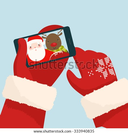 Santa Claus making selfie with reindeer on his smartphone. Vector Illustration - stock vector