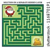 Santa Claus' Maze Game - Help Santa find his bag of presents: Maze puzzle with solution - stock vector