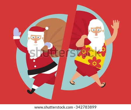 Santa Claus. Merry Christmas and Happy New Year. Traditional and Santa on vacation. Flat vector illustration.