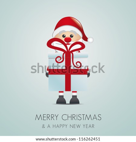 santa claus merry christmas blue background - stock vector