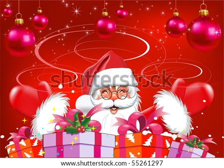 santa claus, merry christmas, santa cute, christmas santa claus, red color, vector, happy new year, christmas card, happy santa, merry christmas, new year, xmas card, cartoon santa, santa illustration - stock vector