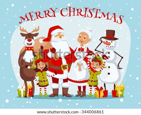 Santa Claus, Missis Claus, kids family vector illustration. Santa Clau, Missis Claus cartoot people. Missis Claus traditional costume. Santa Claus isolated on background. Santa Claus family portrait - stock vector