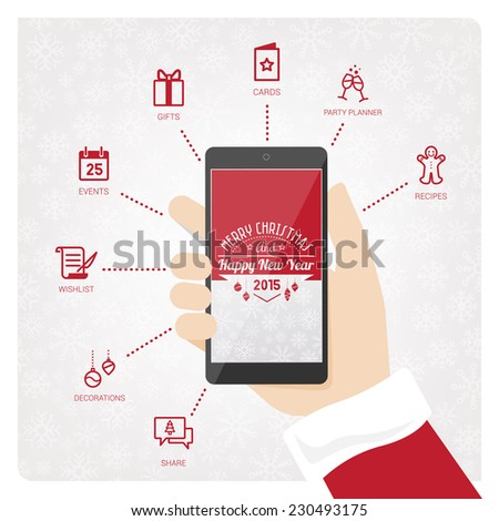 Santa Claus mobile phone with Christmas icons set - stock vector