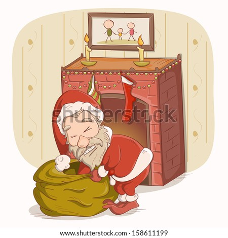 Santa Claus near the fireplace - stock vector