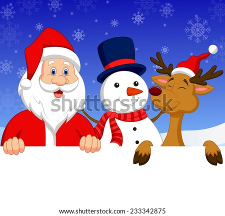 Santa Claus, nosed reindeer and snowman with blank sign - stock vector
