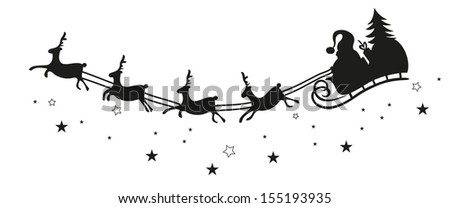 Santa claus on a sledge with reindeer